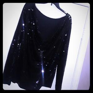 XL Black sequin long sleeve blouse